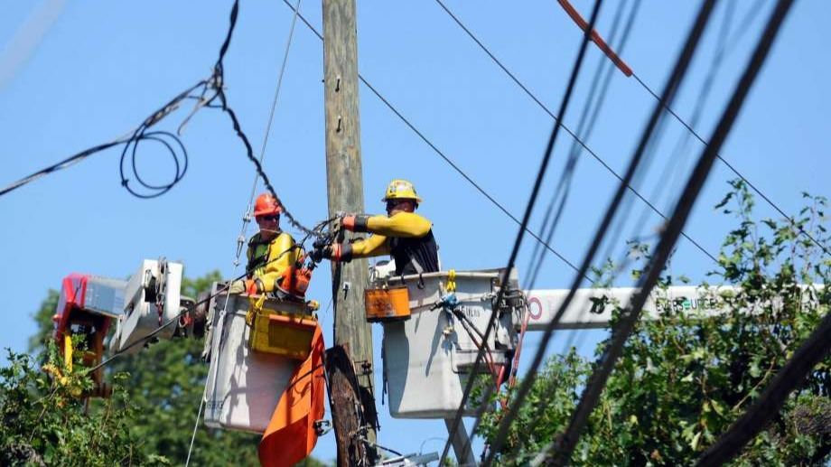 utility pole workers