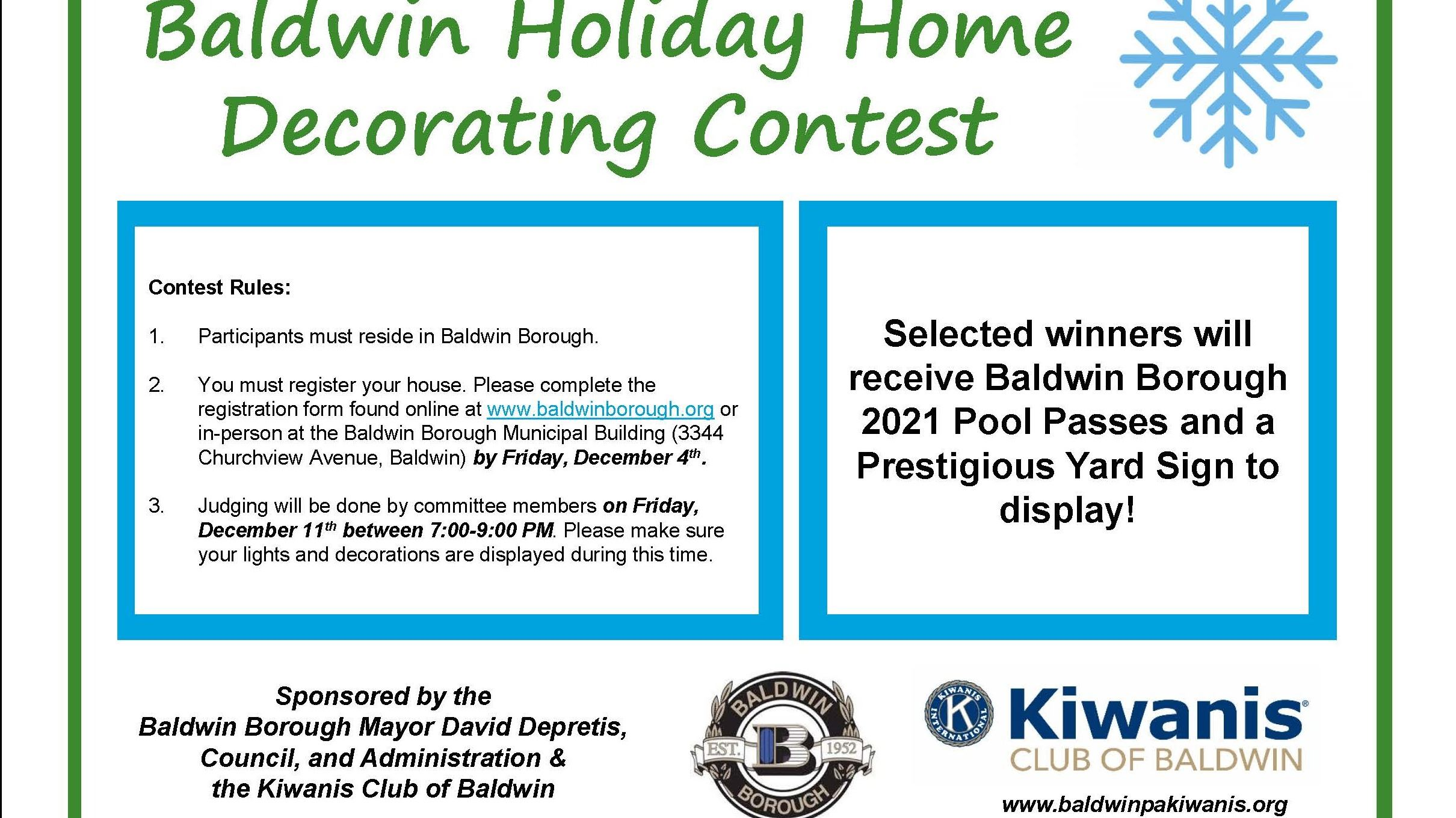 Baldwin Holiday Decorating Contest 2020